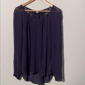 Aritzia Wilfred Purple Silk Tunic Blouse